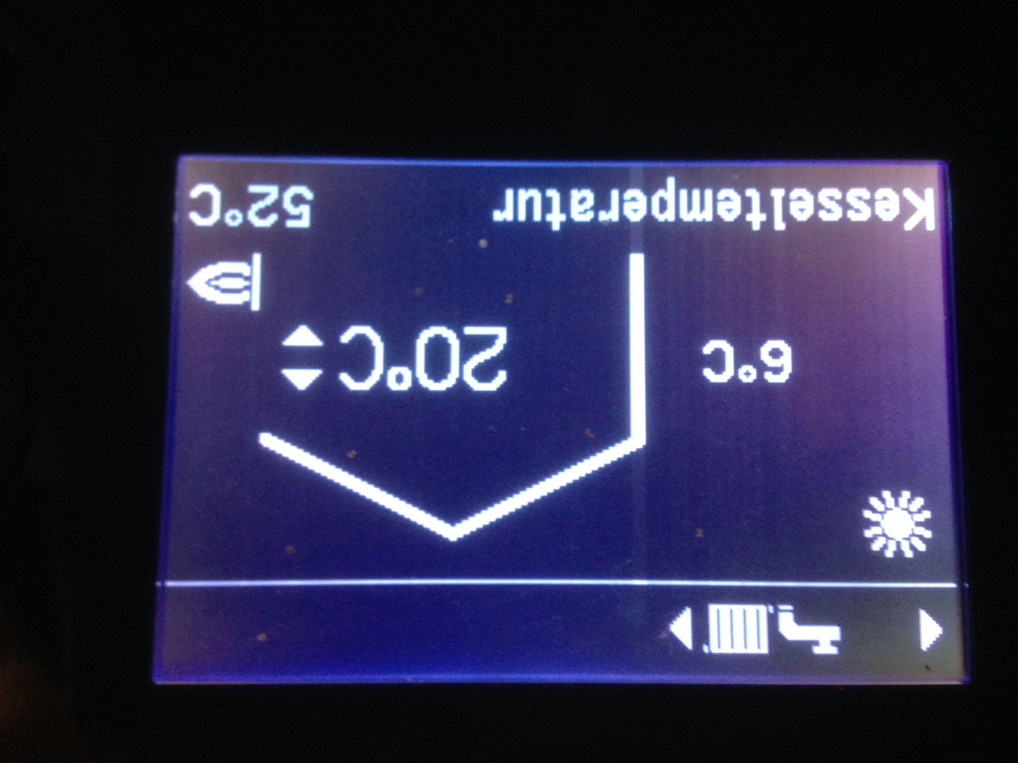 Raumtemperatur-Sollwertanzeige der Brennwertheizung.
